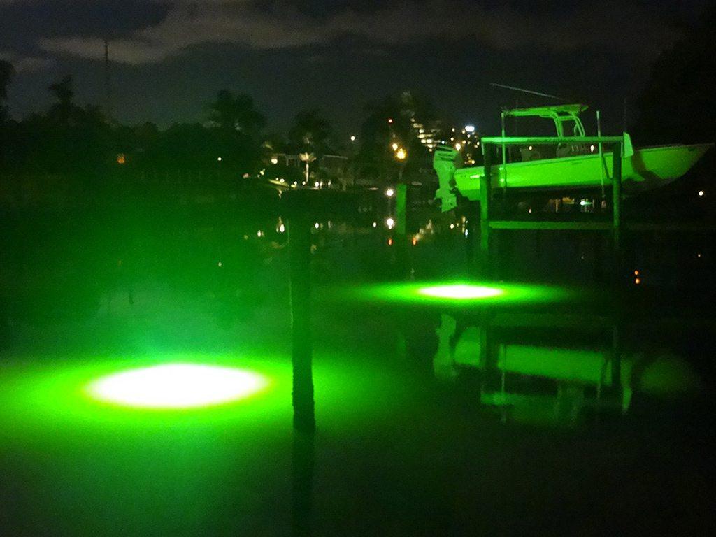 Ss double 250 watt green underwater fish and dock light for Underwater green fishing lights
